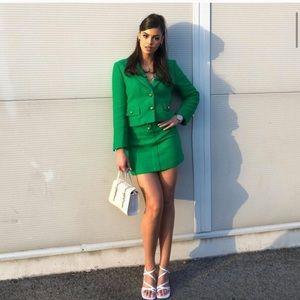NWT ZARA 2 Pcs Textured Blazer + Skirt Apple Green